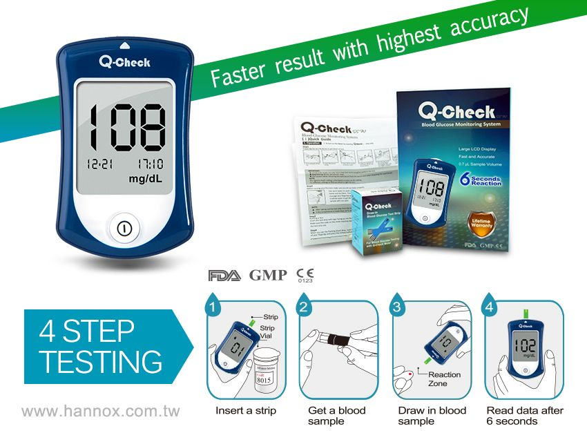 Hannox Blood Glucose Monitoring System Q Check Medical